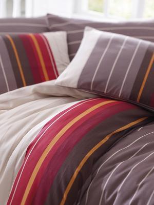 Комплект постельного белья евро Линии, бязь Тет-а-Тет. Цвет: коричневый