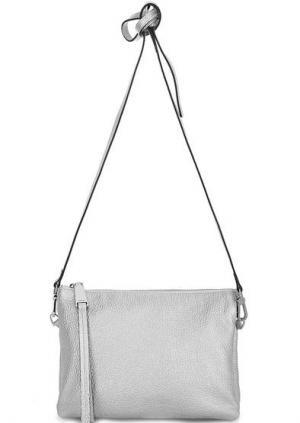 Кожаная сумка с тонким плечевым ремнем Abro. Цвет: серебряный