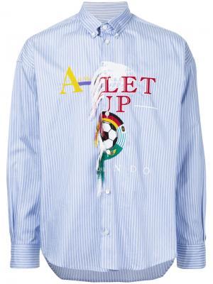Полосатая рубашка с вышивкой Doublet. Цвет: синий