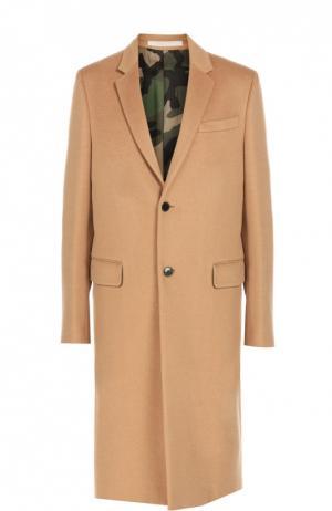 Шерстяное однобортное пальто с английским воротником Valentino. Цвет: бежевый