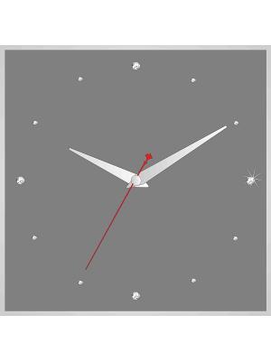 Часы в алюминиевой рамке со стразами 400*400мм ДСТ. Цвет: серый