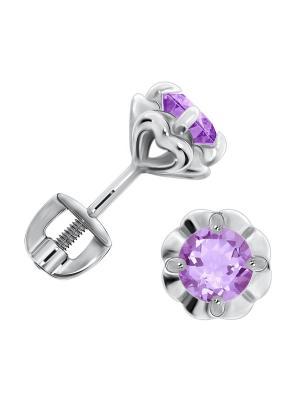 Серебряные серьги KRASNOE. Цвет: серебристый, фиолетовый