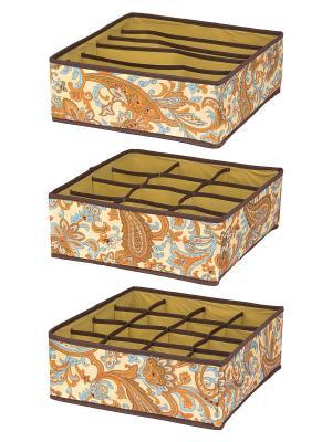 Набор 3 кофров для нижнего белья и носков Перо павлина EL CASA. Цвет: оранжевый, голубой, коричневый