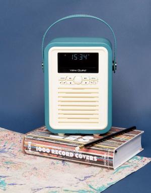 VQ Миниатюрный цифровой радиоприемник в стиле ретро. Цвет: синий