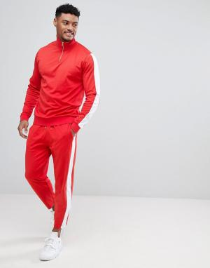 ASOS Красный спортивный костюм в стиле ретро с белыми вставками. Цвет: красный