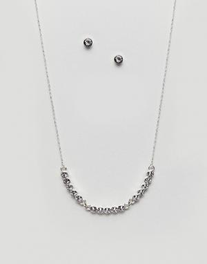 Johnny Loves Rosie Новогодний подарочный набор с ожерельем и серьгами. Цвет: серебряный