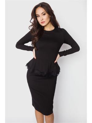 Платье черное с кружевом по баске Welldress