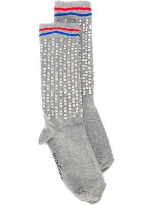 Носки с отделкой стразами Filles A Papa. Цвет: зелёный