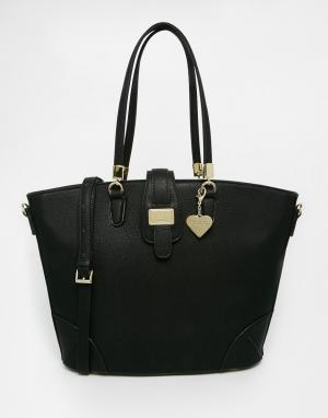 Marc B Черная структурированная сумка-шоппер. Цвет: черный