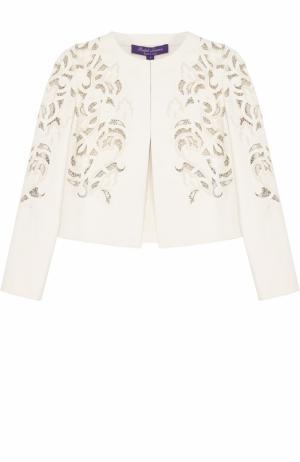 Кожаная куртка с круглым вырезом и перфорацией Ralph Lauren. Цвет: белый
