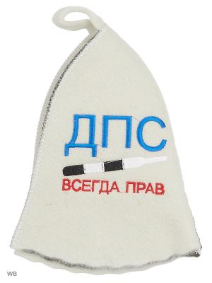 Шапка для бани с вышивкой в косметичке ДПС Метиз. Цвет: белый, серый