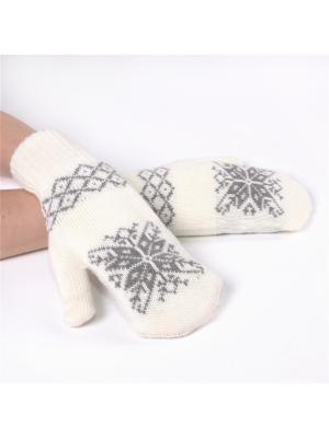 Варежки со снежинкой Непростые вещи. Цвет: серый, белый
