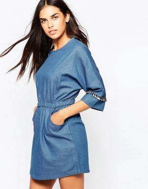 Goldie Джинсовое платье Cast Away. Цвет: синий