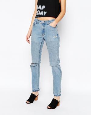 Cheap Monday Рваные джинсы бойфренда. Цвет: синий