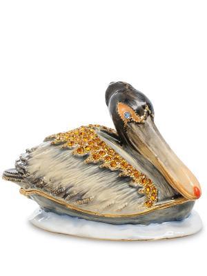 Шкатулка Пеликан серый Art East. Цвет: серо-коричневый