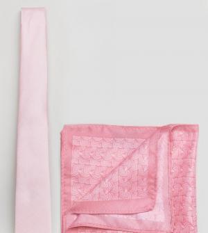 Burton Menswear Галстук и платок для нагрудного кармана. Цвет: розовый