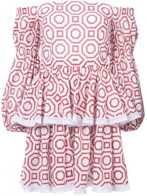 Платье мини с оборками Alexis. Цвет: белый