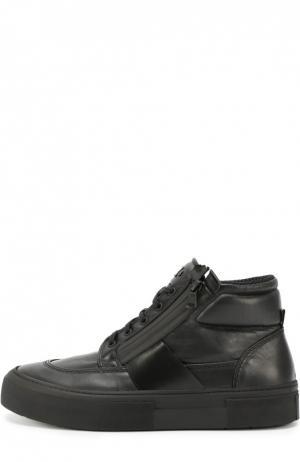 Высокие кожаные кеды на шнуровке O.X.S.. Цвет: черный