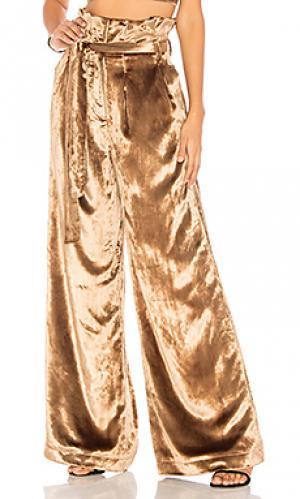 Широкие брюки с высоким поясом thai tea Chrissy Teigen. Цвет: золотой