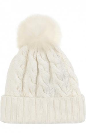 Кашемировая шапка с меховым помпоном Kashja` Cashmere. Цвет: белый