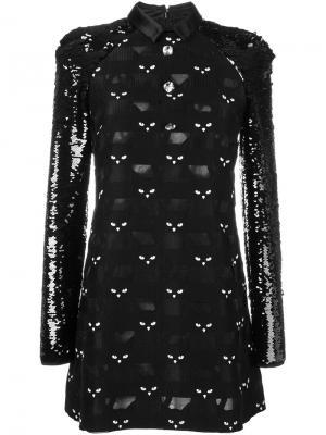 Платье с котами и пайетками Giamba. Цвет: чёрный
