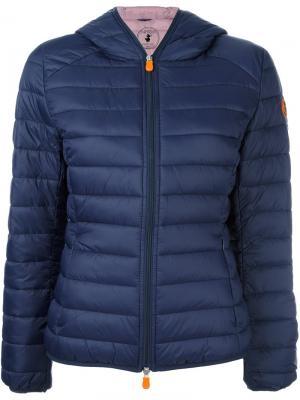 Hooded puffer jacket Save The Duck. Цвет: синий
