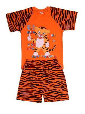 Комплект: футболка, шорты Sladikmladik. Цвет: оранжевый