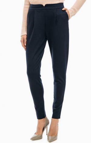 Синие трикотажные брюки ICHI. Цвет: синий