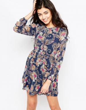 Iska Платье с длинными рукавами и принтом пейсли. Цвет: синий