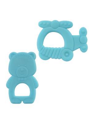Набор Прорезыватель Медведь 1шт. и Вертолёт (термопластичный эластомер) 4+ ПОМА. Цвет: синий
