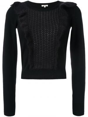 Вязаный свитер с оборками Manoush. Цвет: чёрный