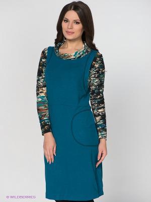Платье МадаМ Т. Цвет: морская волна, черный