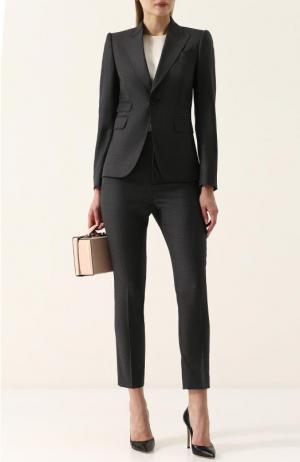 Шерстяной однотонный костюм с укороченными брюками Dsquared2. Цвет: темно-серый