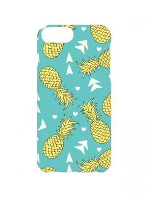 Чехол для iPhone 7Plus Ананасовый принт Арт. 7Plus-014 Chocopony. Цвет: голубой, желтый