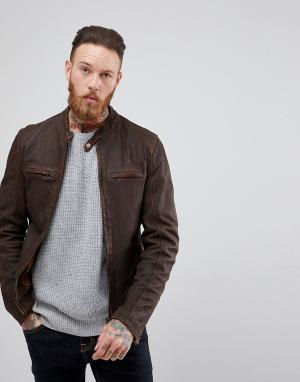Goosecraft Коричневая кожаная куртка с воротником на пуговице Washingo. Цвет: коричневый