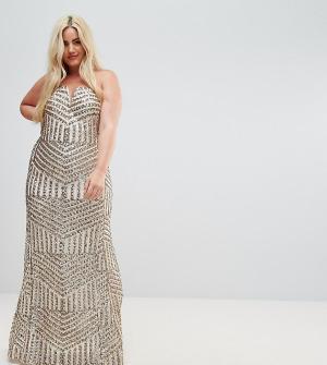 TFNC Plus Платье макси бандо с пайетками. Цвет: золотой