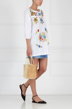 Хлопковое платье с вышивкой Sensi Studio. Цвет: белый, разноцветный