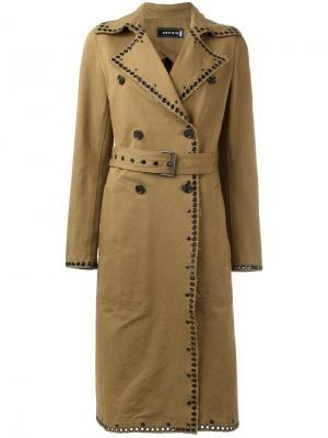 Пальто с поясом Ahirain. Цвет: коричневый