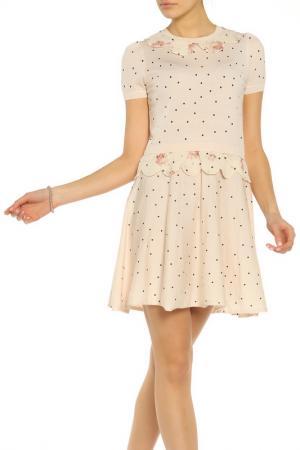Платье из шерсти с принтом горох RED Valentino. Цвет: a21