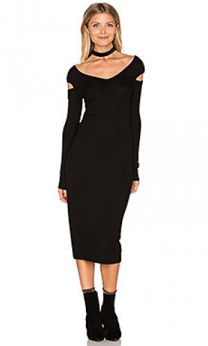 Миди платье с вырезом на плечах Enza Costa. Цвет: черный