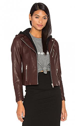 Мото куртка со съёмным капюшоном DOMA. Цвет: коричневый