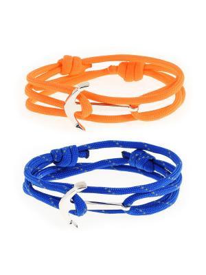 Браслеты ЯКОРЬ. Набор для создания из паракорда (оранжевый и светоотражающий синий) АНДАНТЕ. Цвет: синий, оранжевый
