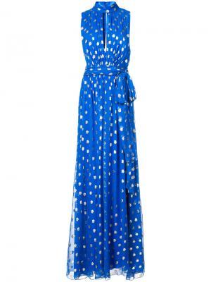 Длинное платье в горох Monique Lhuillier. Цвет: синий