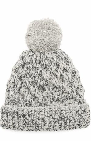 Шерстяная вязаная шапка с помпоном и отделкой металлизированной нитью 0711. Цвет: серый