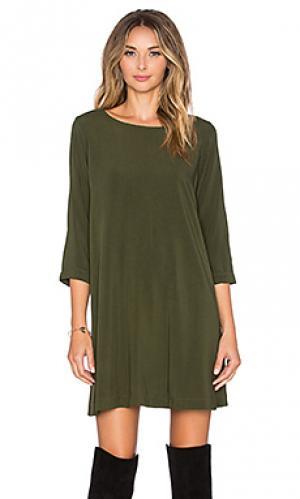 Мини платье 3/4 sleeve crewneck Michael Stars. Цвет: зеленый
