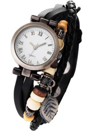 Часы Тоска на кожаном браслете (черный) bonprix. Цвет: черный