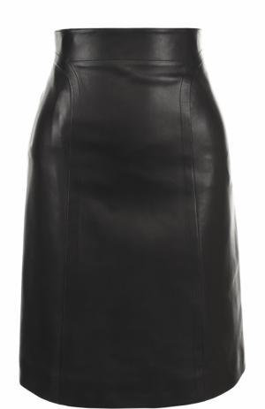 Кожаная мини-юбка с широким поясом Alaia. Цвет: черный