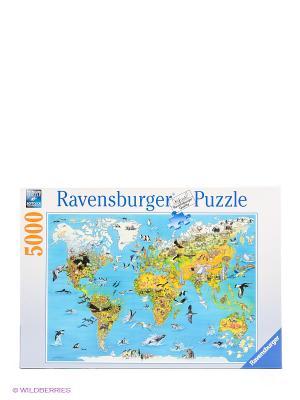 Пазл Карта мира с животными, 5000 деталей Ravensburger. Цвет: голубой