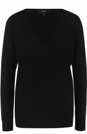 Кашемировый пуловер с V-образным вырезом Theory. Цвет: черный