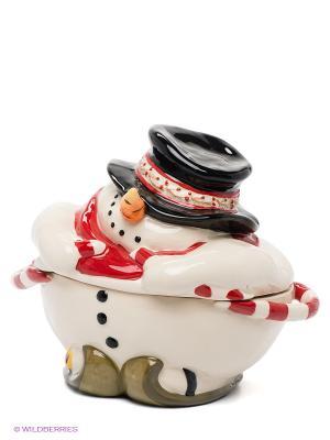 Конфетница Снеговик Blue Sky. Цвет: молочный, красный, черный